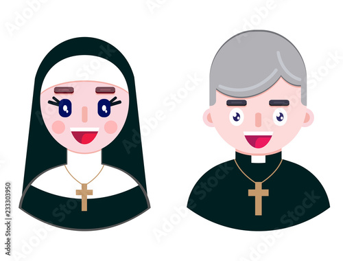 Photo Cheerful priest and happy nun