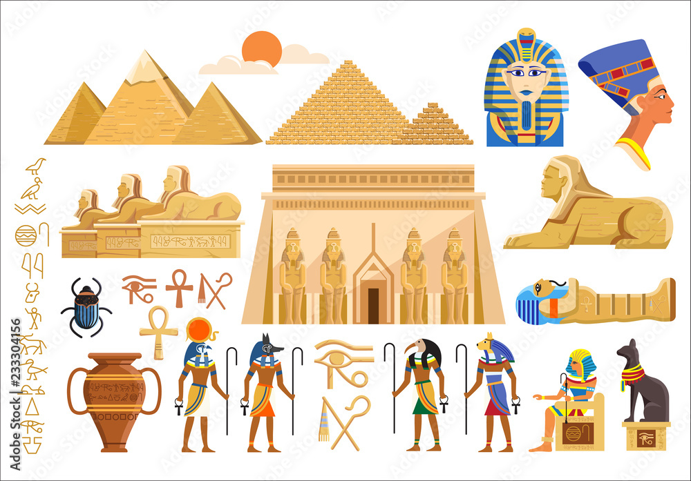 Fototapeta Vector set of various cultural symbols of Egyptian architecture and signs on white background