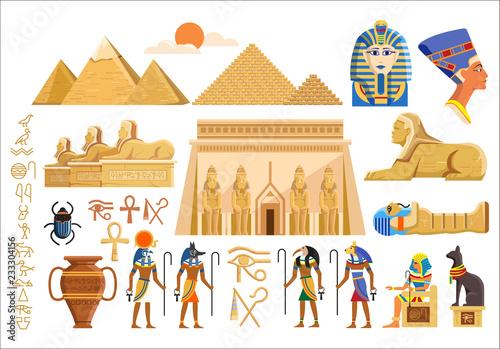 Wektorowy ustawiający różnorodni kulturalni symbole Egipska architektura i znaki na białym tle