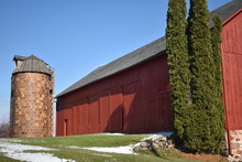 Old Red Barn In Early Winter W...