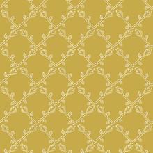 Stylized Flower Trellis Seamless Vector Pattern. Folk Floral Quilt. Hand Drawn Boho Scandi Style Illustration For Trendy Damask Textile Print, Decorative Garden Packaging. All Over Ecru Mustard Yellow