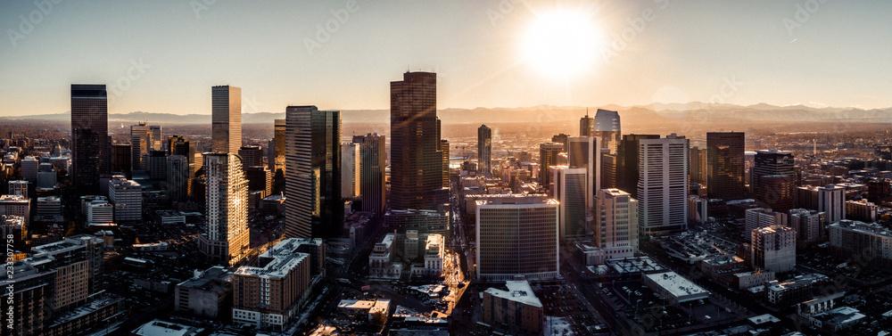 Fototapeta Aerial drone photo - City of Denver Colorado at sunset