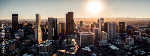 Fotografia  Aerial drone photo - City of Denver Colorado at sunset