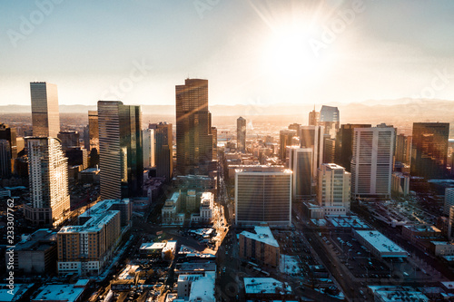Photo sur Toile Marron chocolat Aerial drone photo - City of Denver Colorado at sunset
