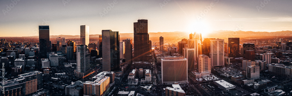 Fototapeta Aerial drone photo - City of Denver Colorado at sunset
