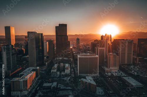 Fotobehang Zwart Aerial drone photo - City of Denver Colorado at sunset