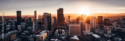 Stampa su Tela  Aerial drone photo - City of Denver Colorado at sunset
