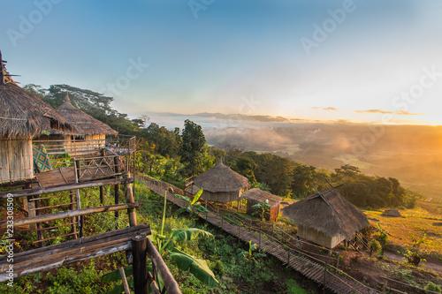 Fototapeta view point at Ban Doi Sa-ngo Chiangsaen Chiangrai Thailand. which includes a view of the Golden Triangle covering Thailand, Laos and Myanmar. obraz na płótnie