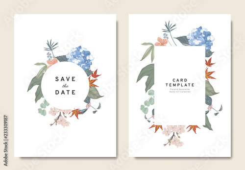 Floral Wedding Invitation Card Template Design Bouquets Of Blue
