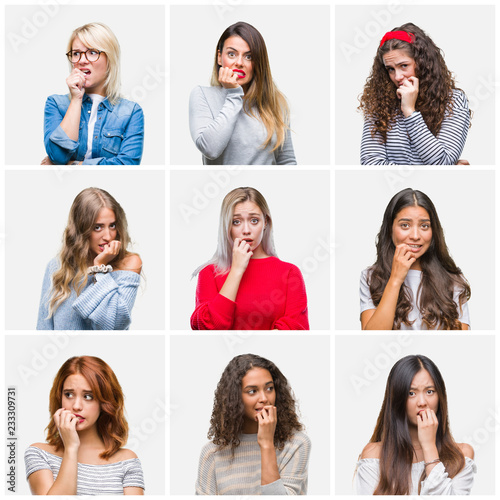 Fototapety, obrazy: Collage of young beautiful women over isolated background looking stressed and nervous with hands on mouth biting nails. Anxiety problem.