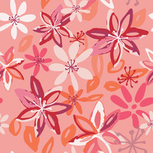 Colorful Spring/summer Floral Pattern In Pink, Coral, Orange And Deep Red.  Lively, Seamless Vector Design, Perfect For Textiles, Home Decor, Womens Fashion, Gift Wrapping Paper And Stationery.