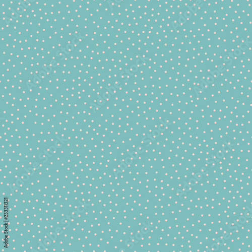 Stampa su Tela Seamless vector background pattern of tiny pale dots on turquoise background