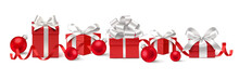 Set Of Decorative Red Gift Boxes With Silver Bows And Red Christmas Balls Isolated On White For New Year Sale Design. Vector Illustration