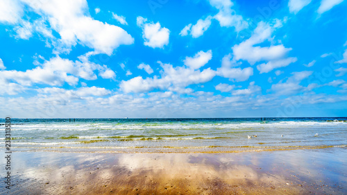 Beach at the North Sea and Westerschelde near the harbor city of Vlissingen in Zeeland Province, the Netherlands