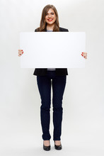 Woman Wearing Black Suit Holding White Board.