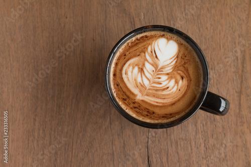Fotografie, Obraz  Piccolo Latte art in a cup topping beautiful heart art from milk
