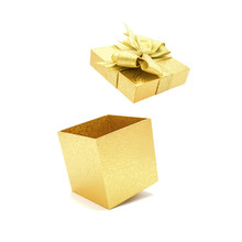 Gold Gift Box With Bow Open.