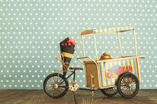 Ice Cream Cart On Wheels With...