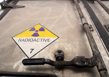 Radiation Warning Sign On The Dangerous Goods Transport Label Class 7 At The Container Door Of Transport Truck
