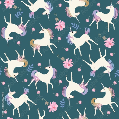 sweet-seamless-pattern-with-cute-unicorns-and-gentle-pink-flowers-on-emerald-green-color-background-in-vector