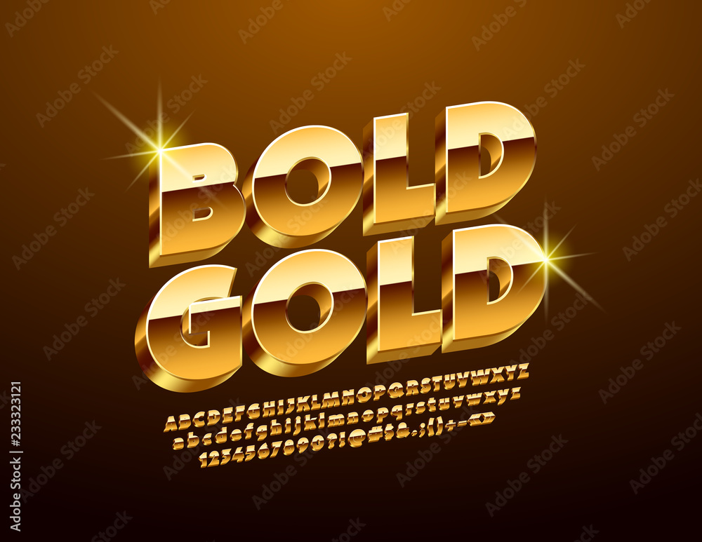 Fototapety, obrazy: Luxury Golden 3D Font. Chic Alphabet Letters, Numbers and Symbols.