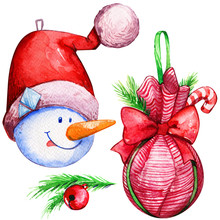 Christmas Decoration Ball Snowman Hat Tree Watercolor