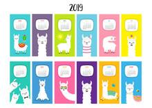 Llama Alpaca Calendar 2019. Ve...