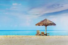 A Hut At Tropical Beach Over B...