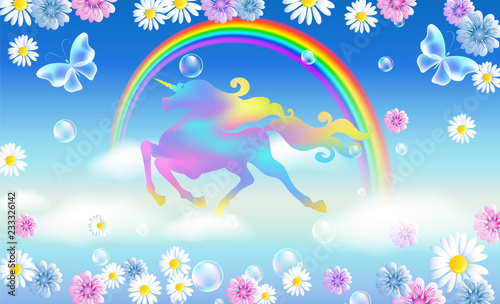 Keuken foto achterwand Vliegtuigen, ballon Rainbow in the sky and galloping unicorn with luxurious winding mane against the background of the iridescent universe with flowers