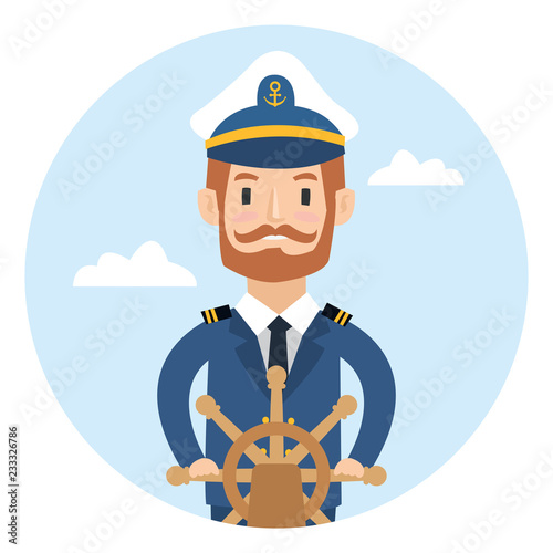 Cuadros en Lienzo A ship captain behind the wheel isolated on white background