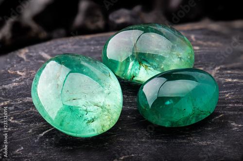The emerald gemstone jewelry. Canvas Print