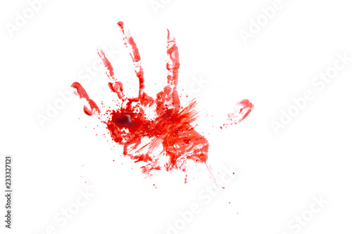 Carta da parati blood or paint hand isolated on white background,graphic resources,halloween con