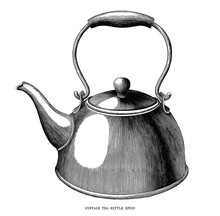 Vintage Tea Kettle Hand Draw E...