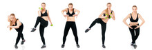 Collection Of A Beautiful Young Fitness Woman, Isolated On White Background. Set Of Happy People Doing Stretching Exercise, Full Length Portrait.