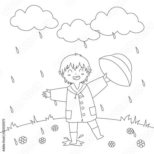 Happy Little Boy Playing Under The Rain Cartoon Vector