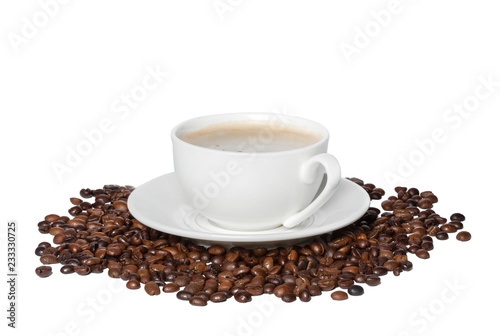 Fotografie, Obraz  White cup of black coffee with roasted coffee beans