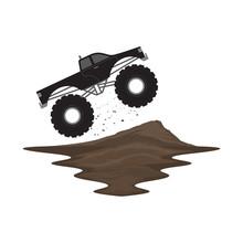 Monster Truck Off Road Jump On Ramp Dirt Track Landscape Vector