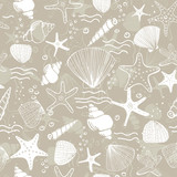 Fototapeta Łazienka - Marine seamless pattern. Vector sea life background with corals, sea star, shells. Hand drawn art illustration
