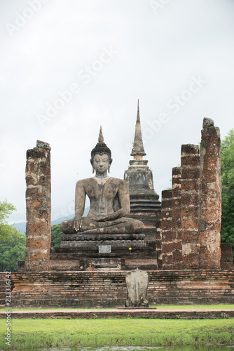 Buddha Statue at Wat Mahathat in Sukhothai Historical Park, Unesco world heritage. of Thailand .