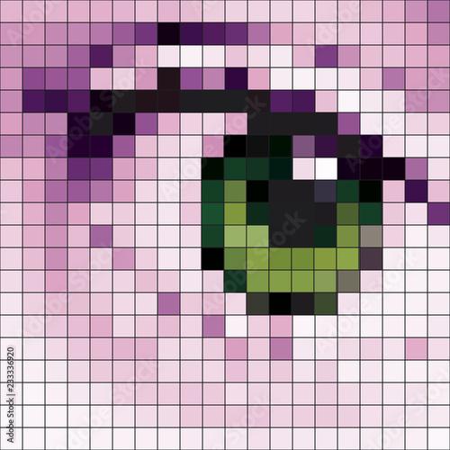 Autocollant pour porte Pixel abstract mosaic eyes