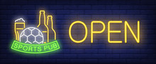 Sports Pub, Open Neon Text With Football And Beer. Football Advertisement Design. Night Bright Neon Sign, Colorful Billboard, Light Banner. Vector Illustration In Neon Style.