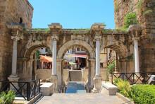 Ancient Gate Of Roman Emperor Adrian In Antalya, Turkey