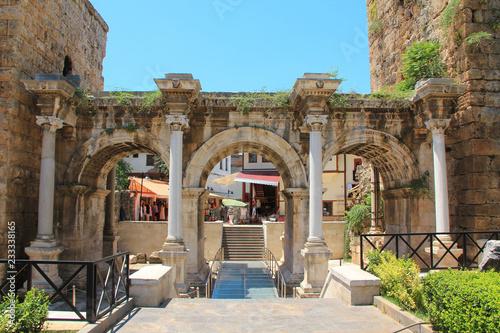 фотография  Ancient gate of Roman emperor Adrian in Antalya, Turkey