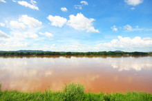 Landscape Of Mountain And River At Khong River The Thai-Laos Border At Chaingkhan Distric Thailand