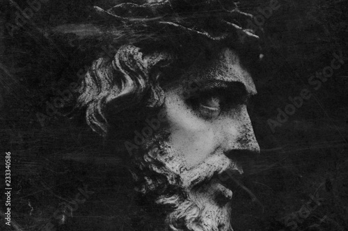 Spoed Foto op Canvas Aquarel Gezicht Fragment of antique statue of Jesus Christ as a symbol of love, faith and religion. Retro styled.