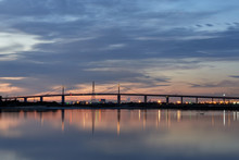 Westgate Bridge At Sunset Over The Yarra River In Melbourne, Australia.