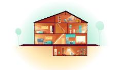 Modern House, Three-storey Cot...