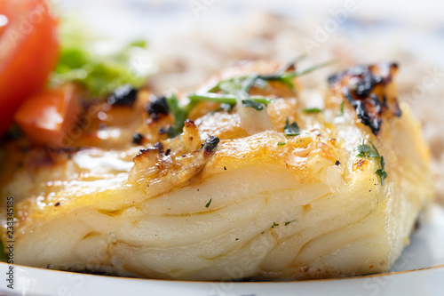 Fototapeta grilled cod fish with rice obraz