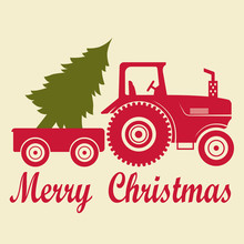 Christmas Tractor With A Trailer And A Tree