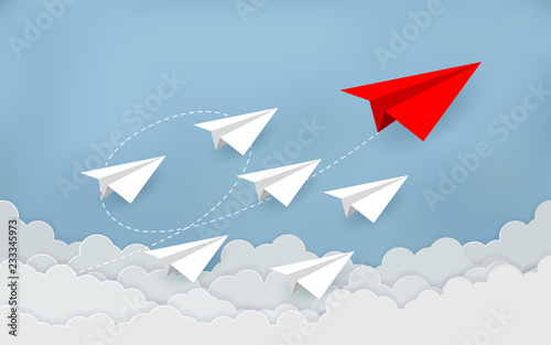 Obraz Paper plane are competition to destination up to the sky go to success goal. business financial concept. leadership. creative idea. illustration vector. start up. paper art style. cartoon  - fototapety do salonu